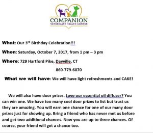 Companion Veterinary Health Center, 3 Year Birthday Celebration @ Killingly | Connecticut | United States