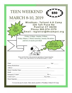 March 8 - 10 teen week-end at Windham -Tolland 4-H camp @ Windham-Tolland 4-H Camp