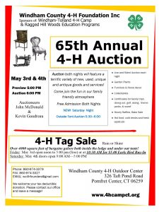 "Windham County 4-H Foundation Inc. ""65th Annual 4-H Auction"" @ Windham Tolland 4-H Outdoor Center"