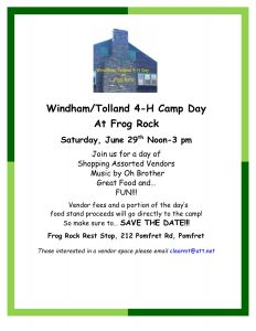 Windham/Tolland 4-H Camp Day at Frog Rock @ Frog Rest Stop