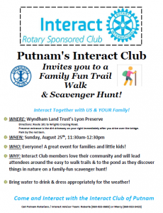 Putnam Interact Club: Family Fun Trail Walk & Scavenger Hunt