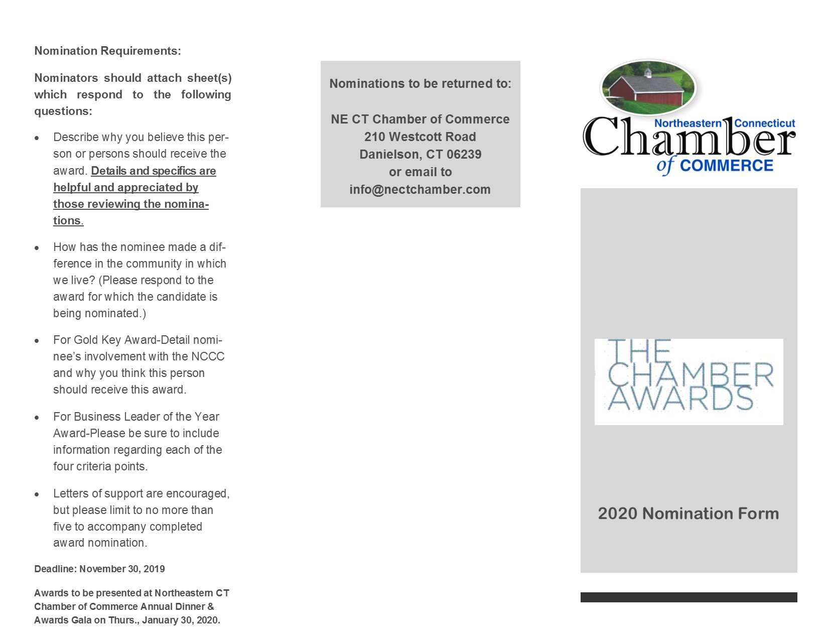 Chamber Award Nominations - Download a form today to submit a nomination!