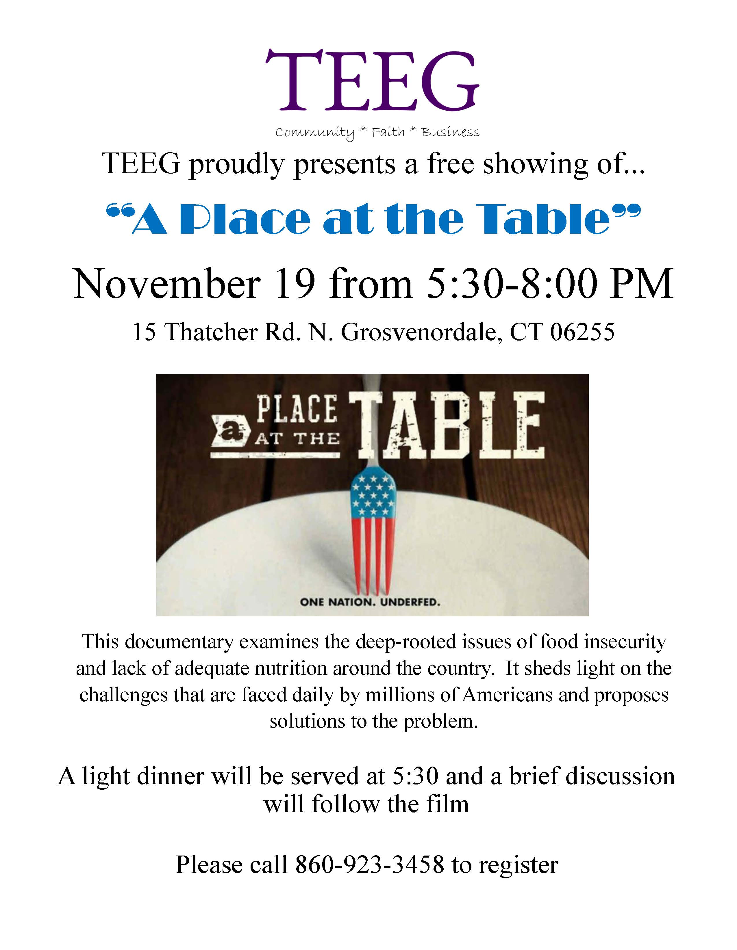 "TEEG Proudly Presents a FREE Showing of ""A Place at the Table"""