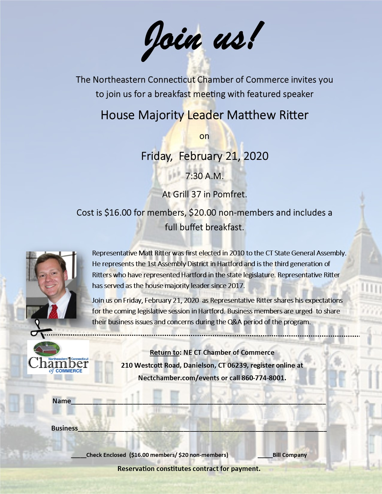 Chamber Breakfast with House Majority Leader Matthew Ritter @ Grill 37