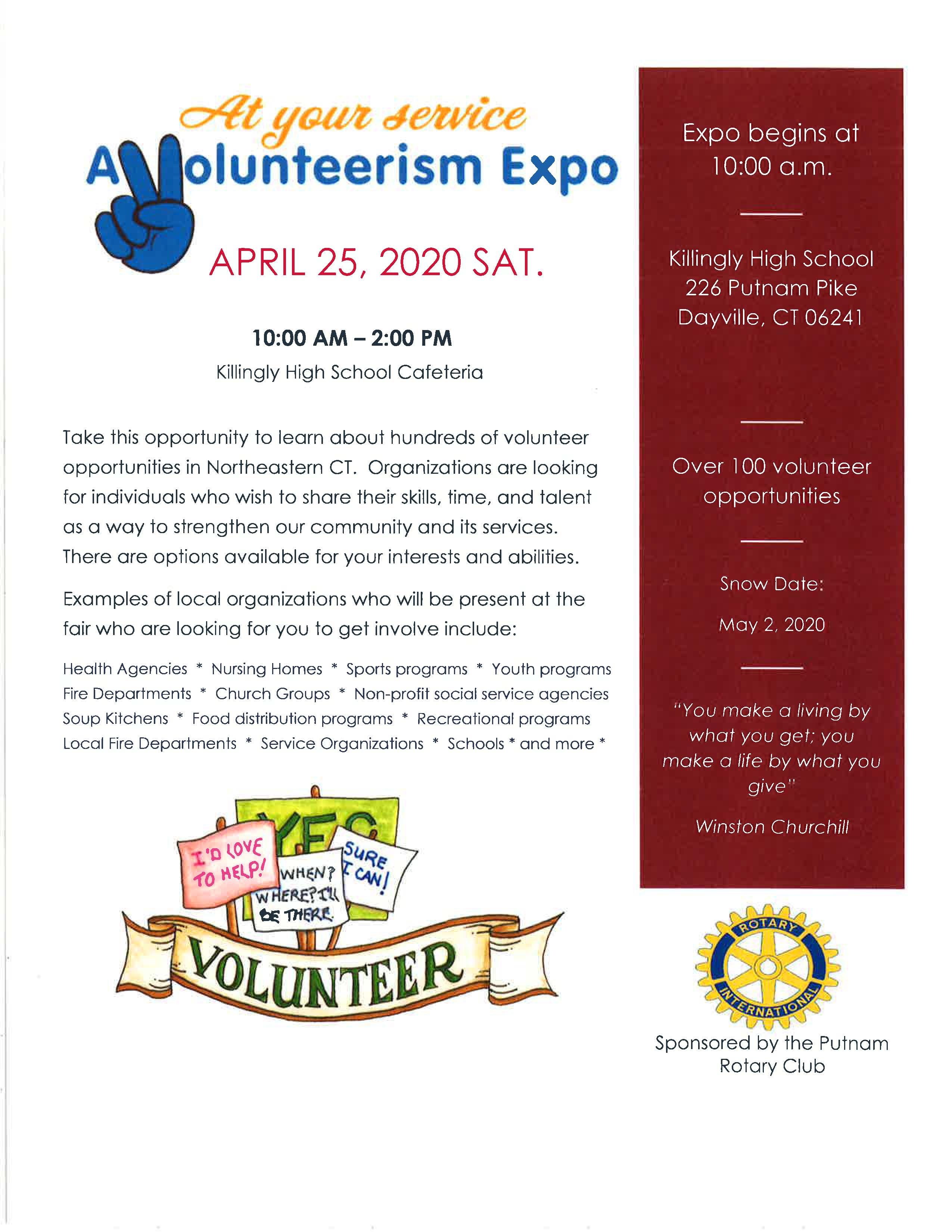 CANCELLED _ A Volunteerism Expo @ Killingly High School