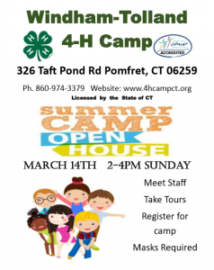 Windham-Tolland 4-H Camp - Summer Camp Open House @ Windham-Tolland 4-H Camp